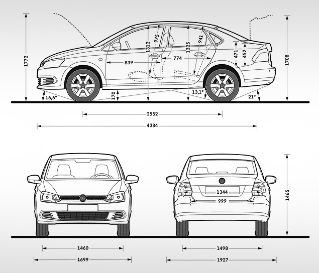 кузовные размеры volkswagen polo sedan