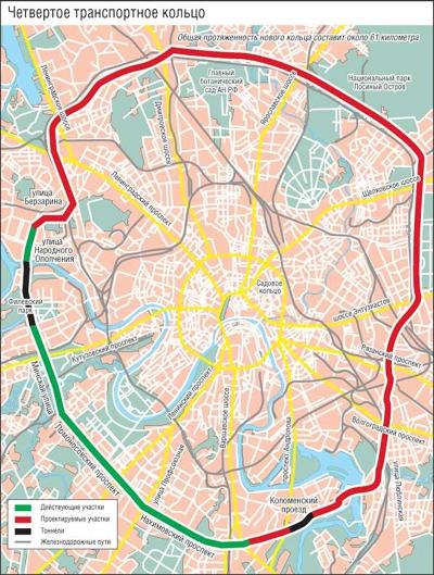 Проект Четвертого транспортного кольца. Изображение с сайта Roads.ru